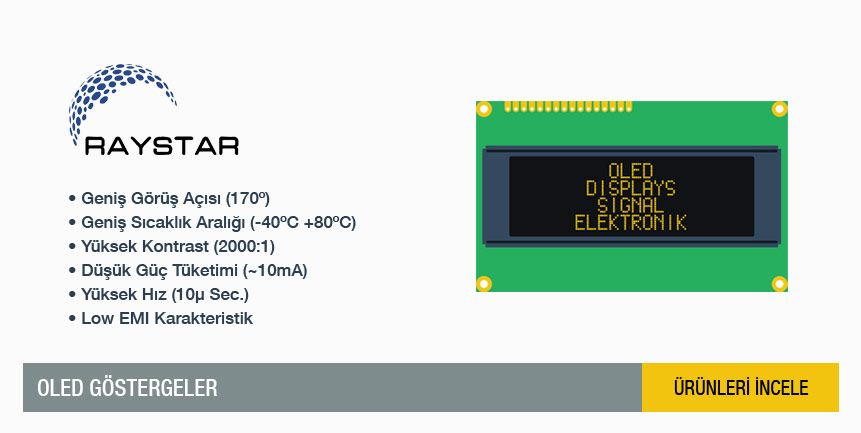2x16 / 4x20 / 128x64 OLED Display, OLED G�sterge, Organic Light Emitting Diode